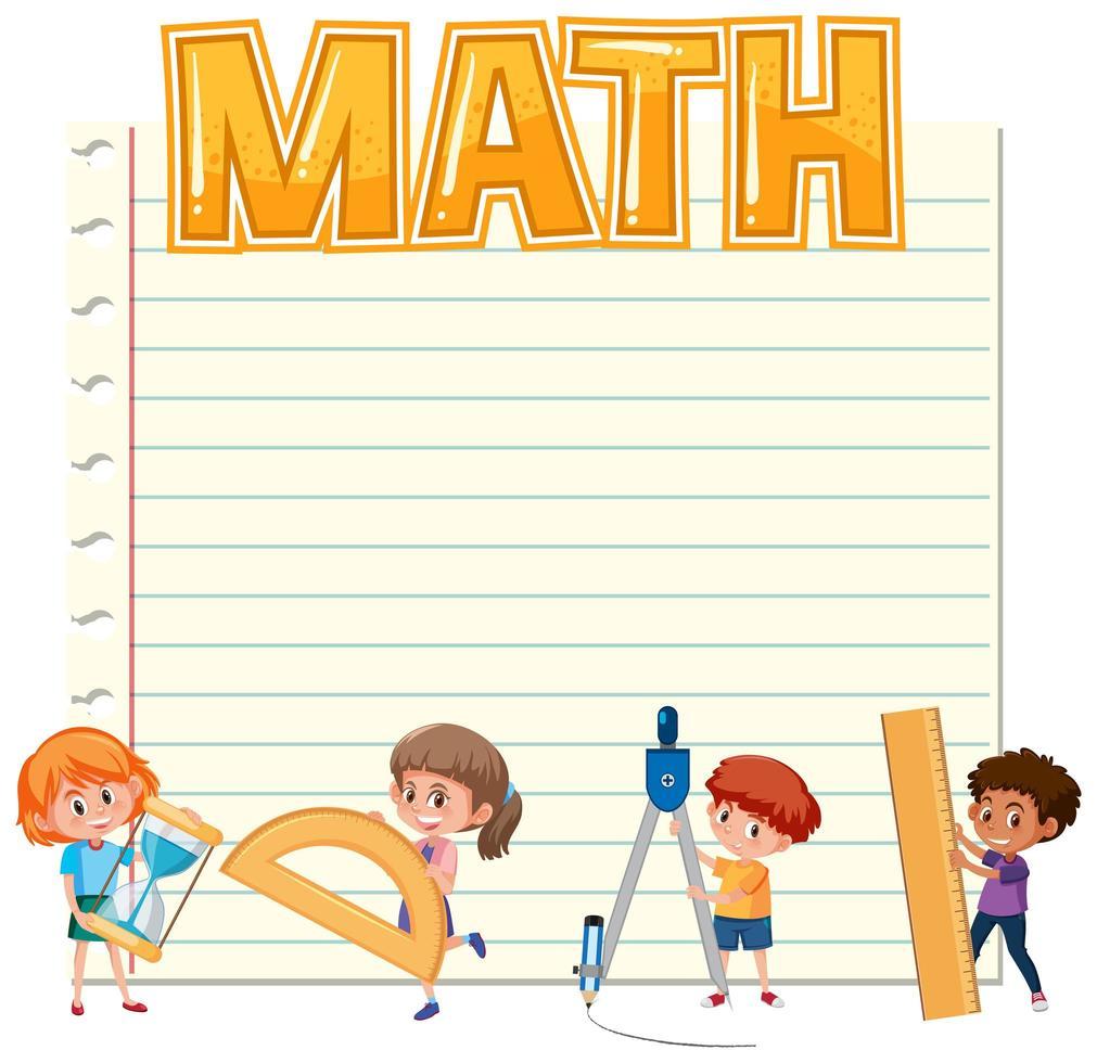 Unbelegtes Papier mit Kindern und Matheausrüstungen vektor