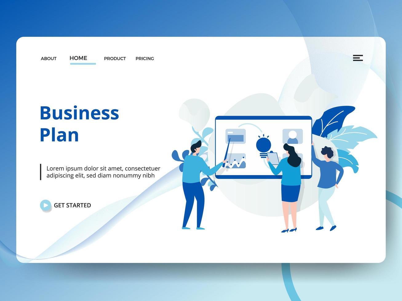 Zielseiten-Business-Plan vektor