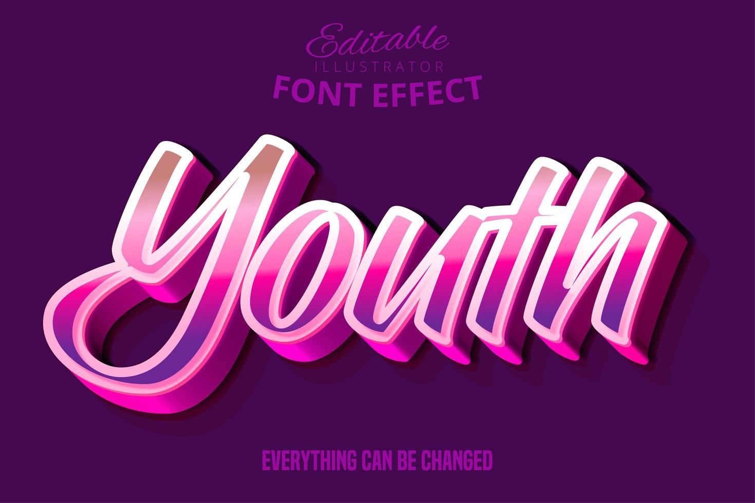 Editierbarer Typografie-Gusseffekt des modernen Jugendskripts vektor