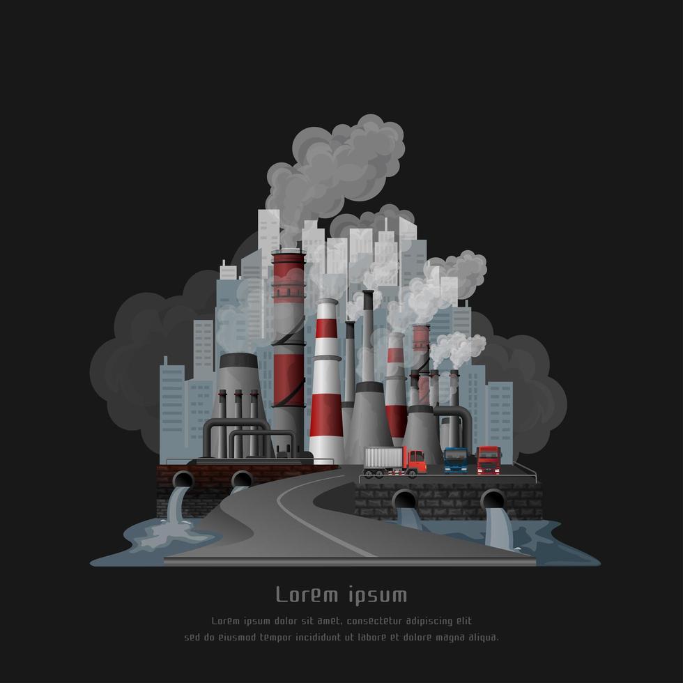 Urbana landskap förorenade atmosfären från utsläpp av fabriker vektor