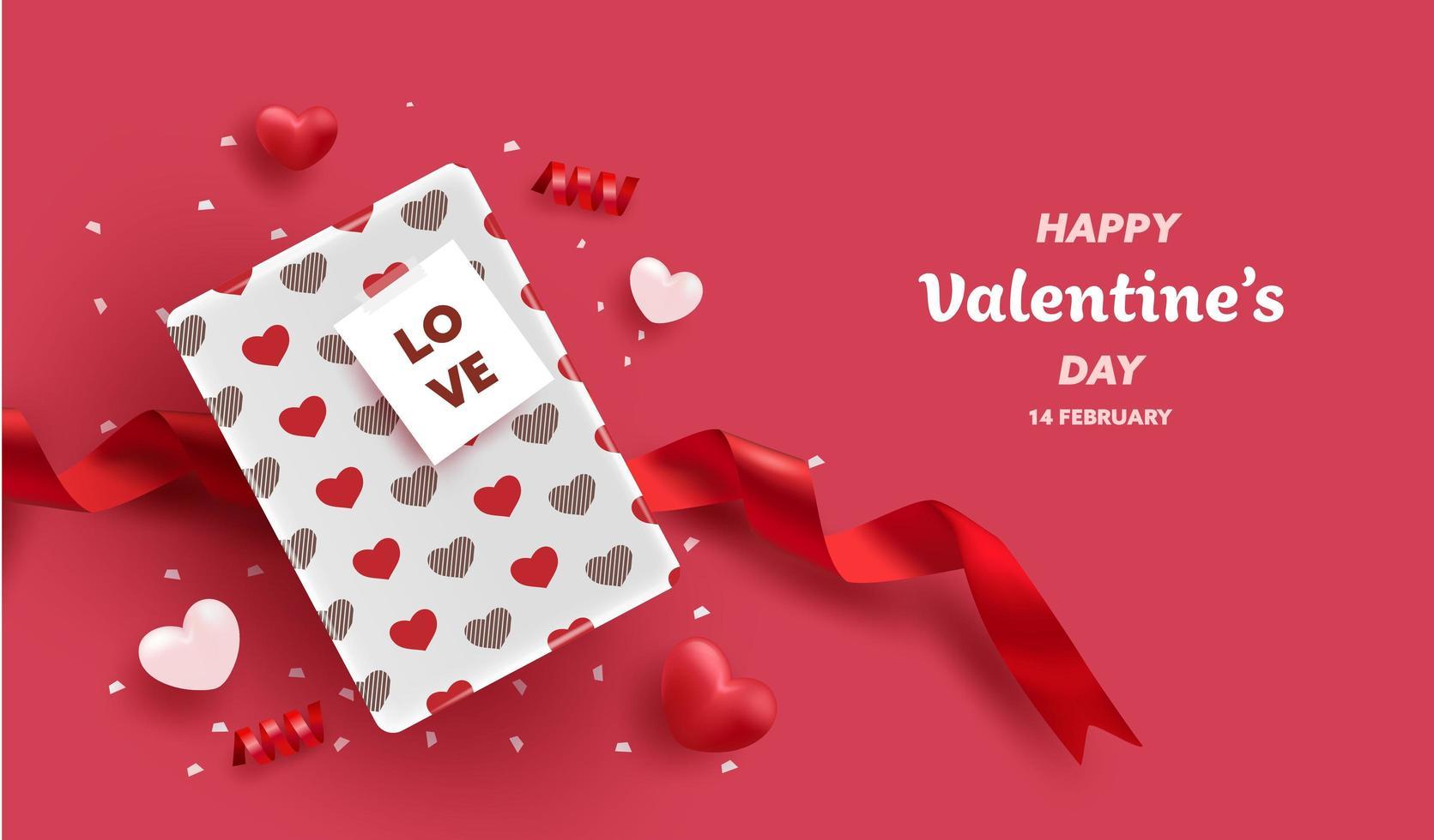Happy Valentines Day Geschenkbox Grußkarte vektor