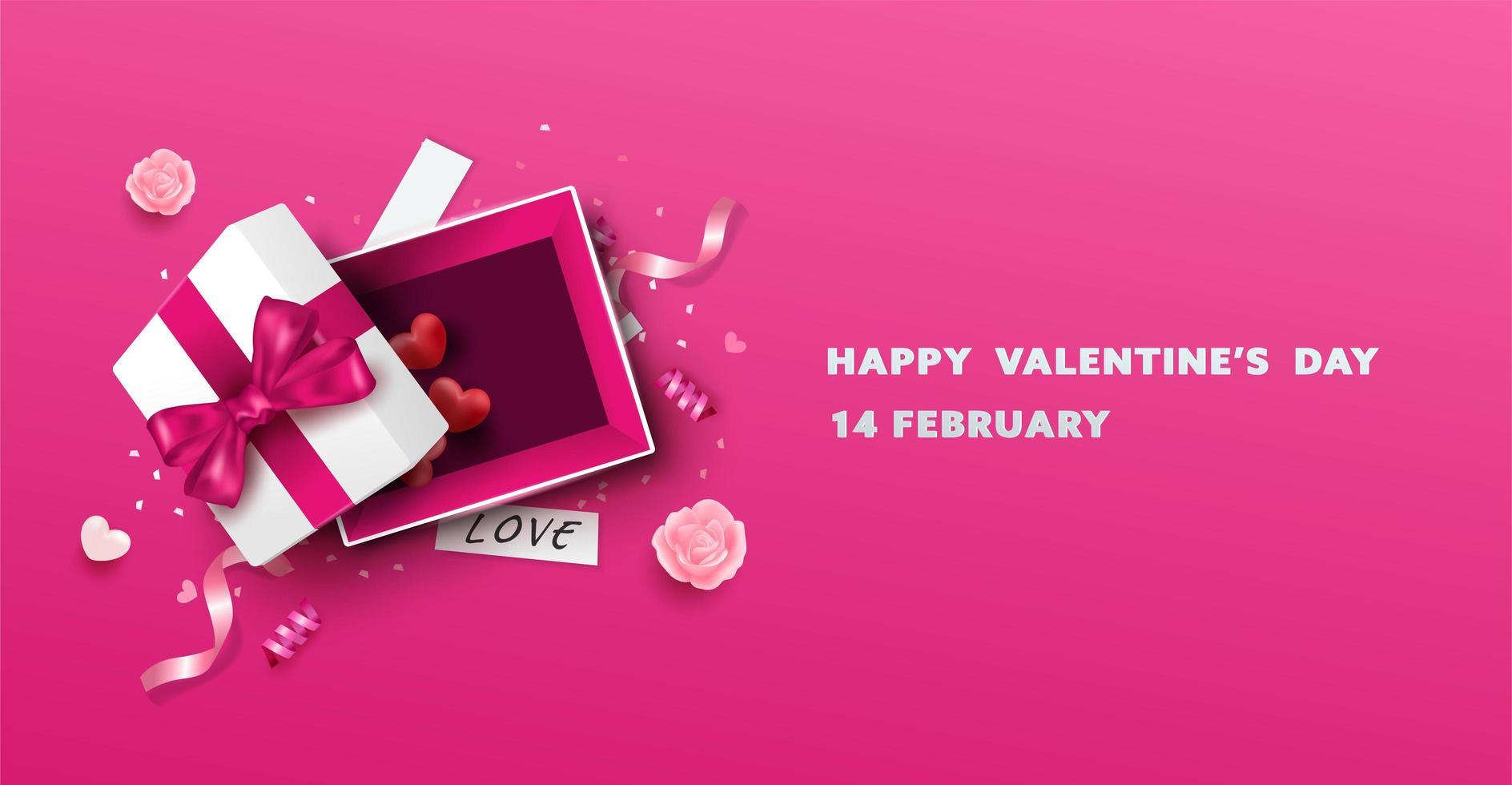 Glückliches Valentinstag-offenes Geschenkbox-Design vektor