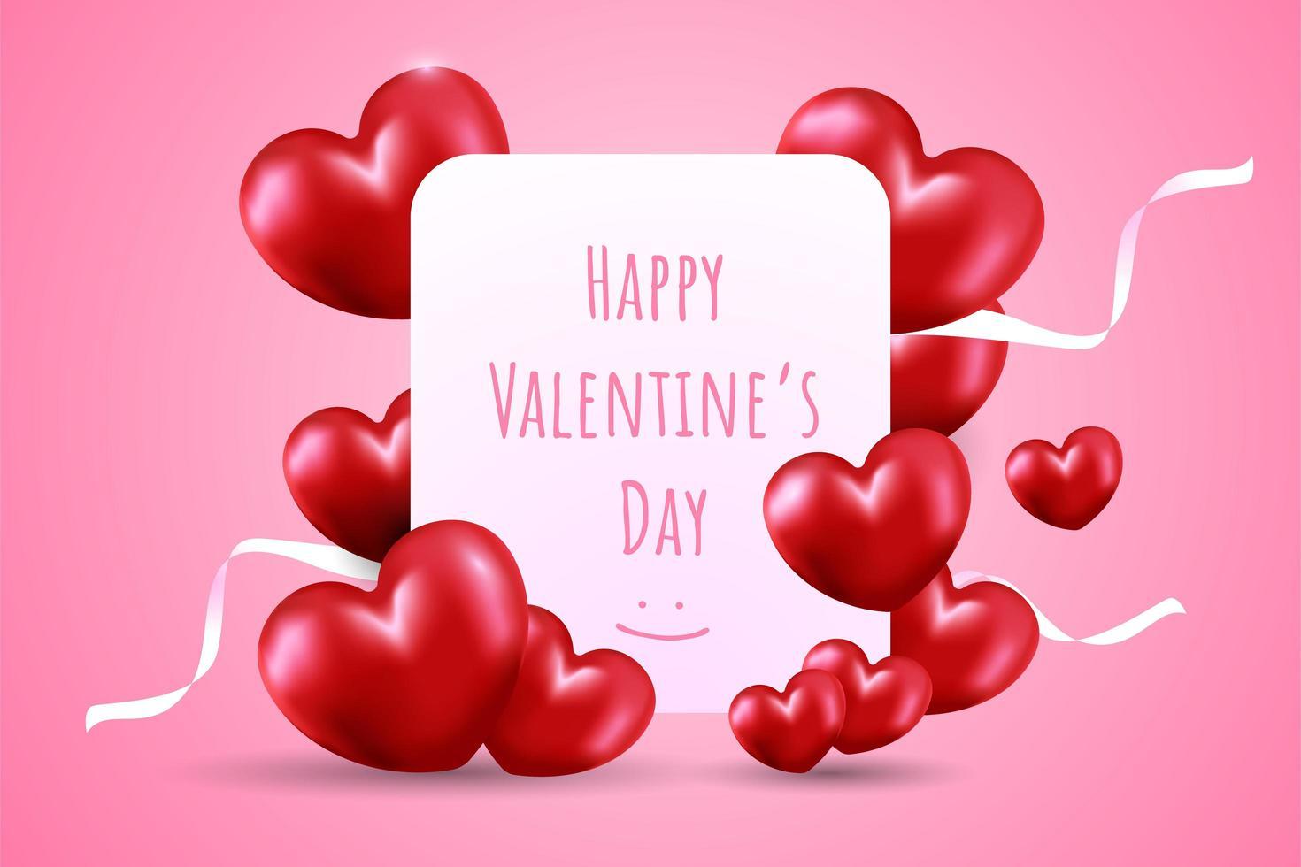 Glad Alla hjärtans dag med röda hjärtformade ballonger vektor