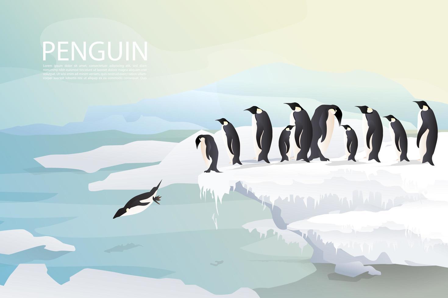 Pingviner och familj på isbakgrund vektor