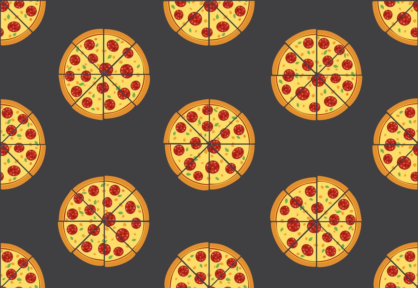 Seamless mönster av pizza isolerad på svart bakgrund vektor