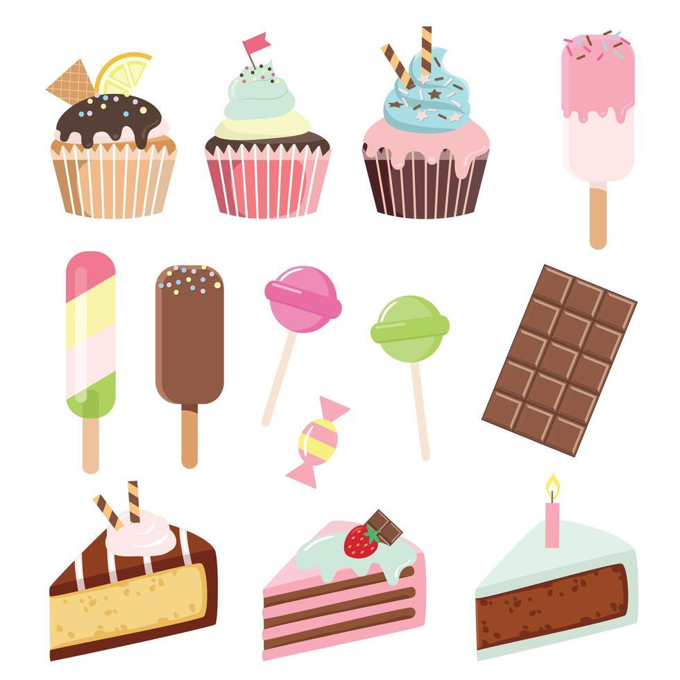Olika sötsaker på vit vektor