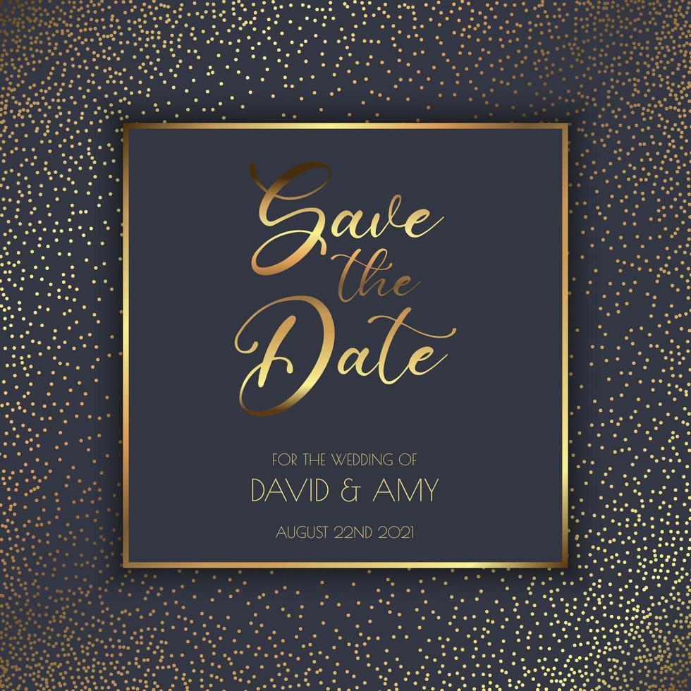 Spara datuminbjudningsmallen med svart och guld vektor
