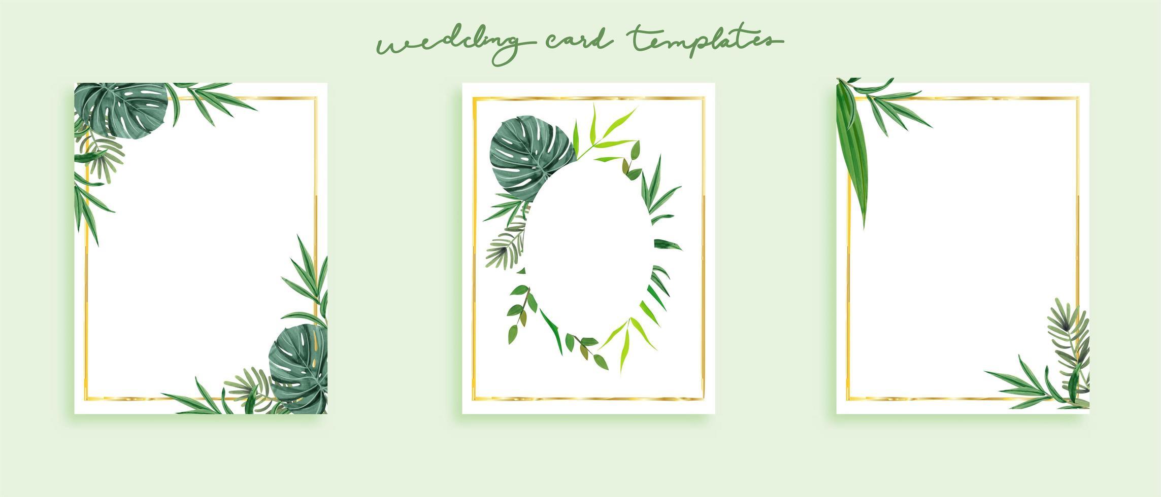 Härlig uppsättning vilda blad för bröllopskortsmallar i grönt tema vektor