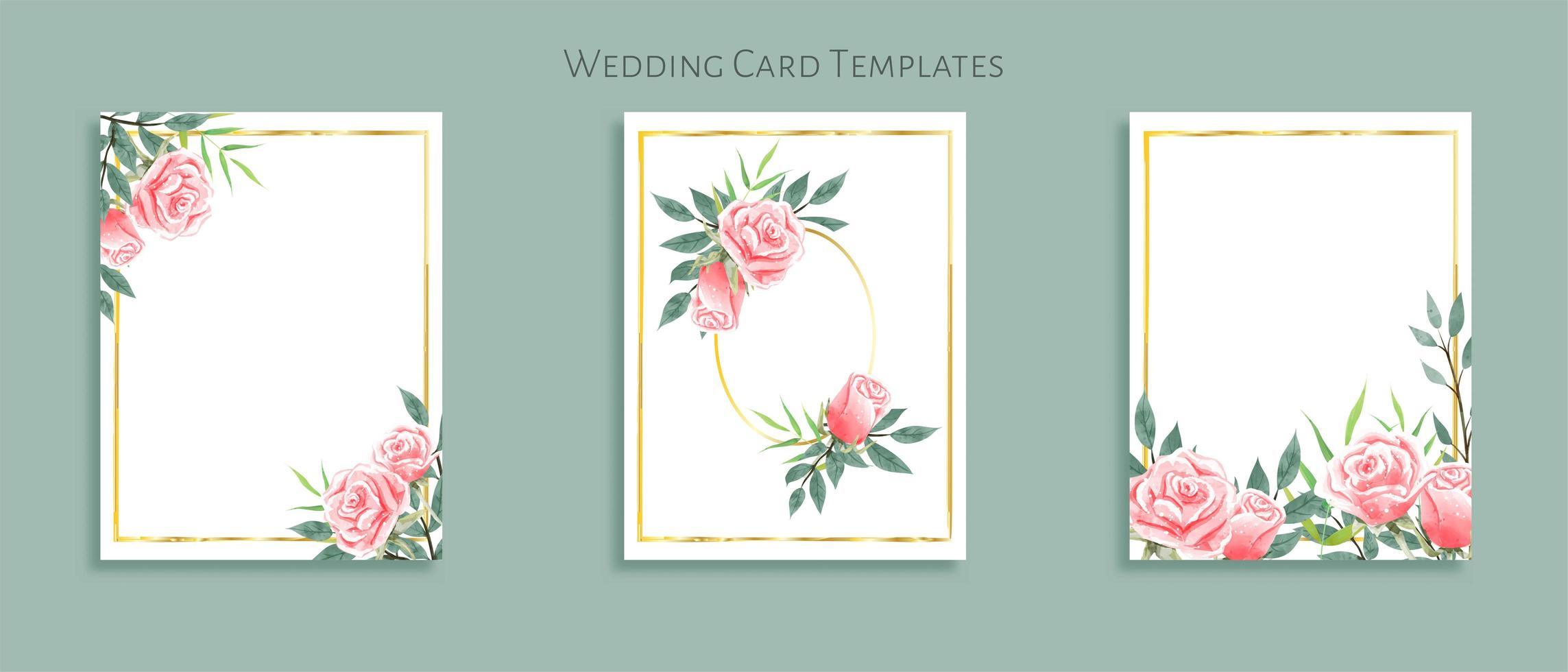 Vacker uppsättning bröllop kortmallar. Dekorerad med rosbuketter. vektor
