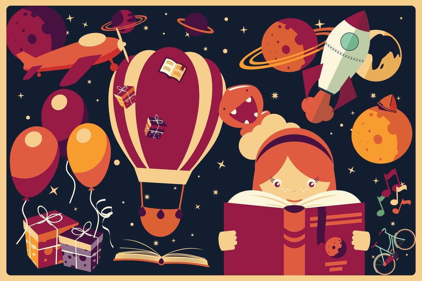 Hintergrund mit Fantasieeinzelteilen und einem Mädchen, das ein Buch liest vektor