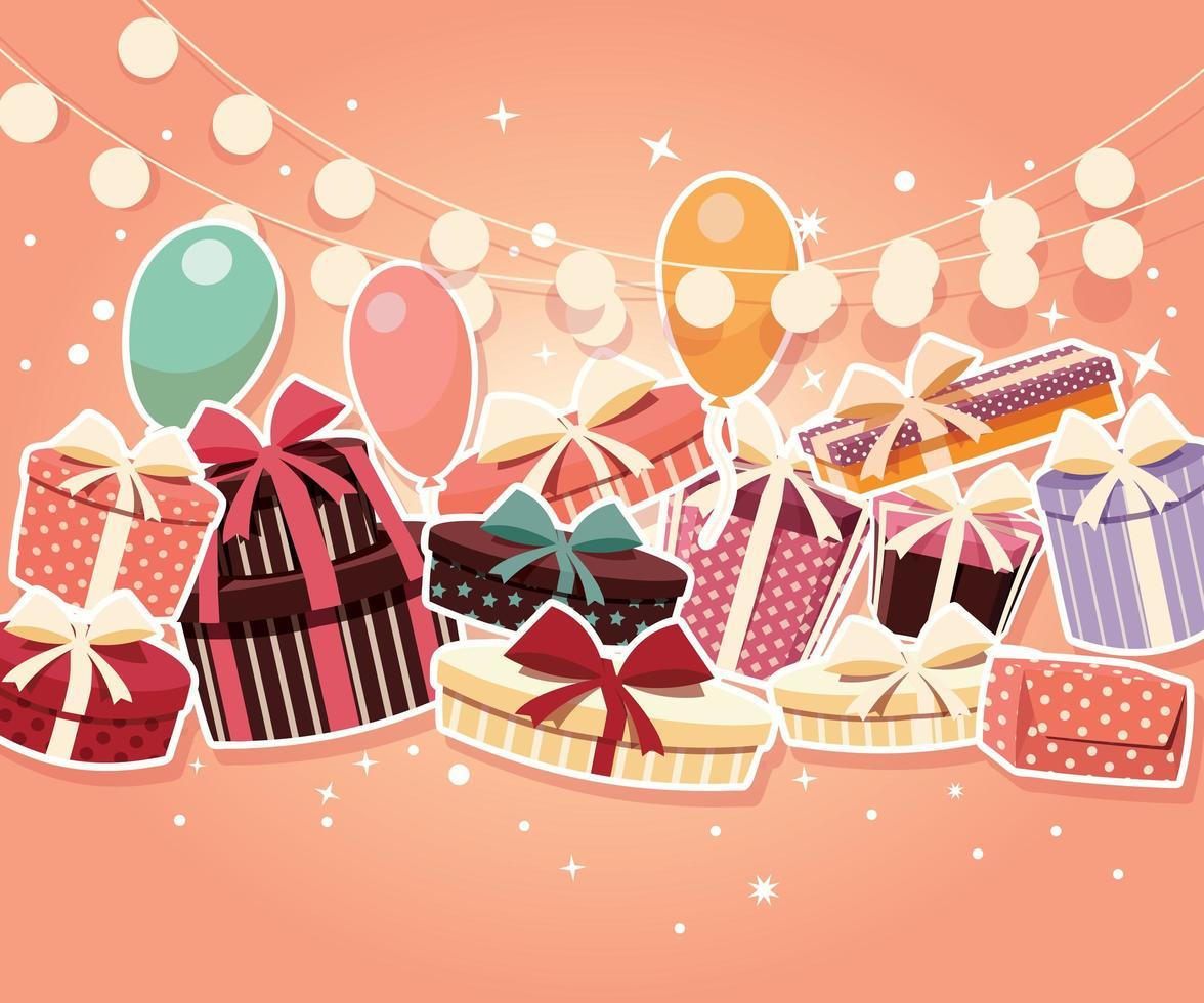 Födelsedagbakgrund med klistermärkearpresenter och ballonger vektor