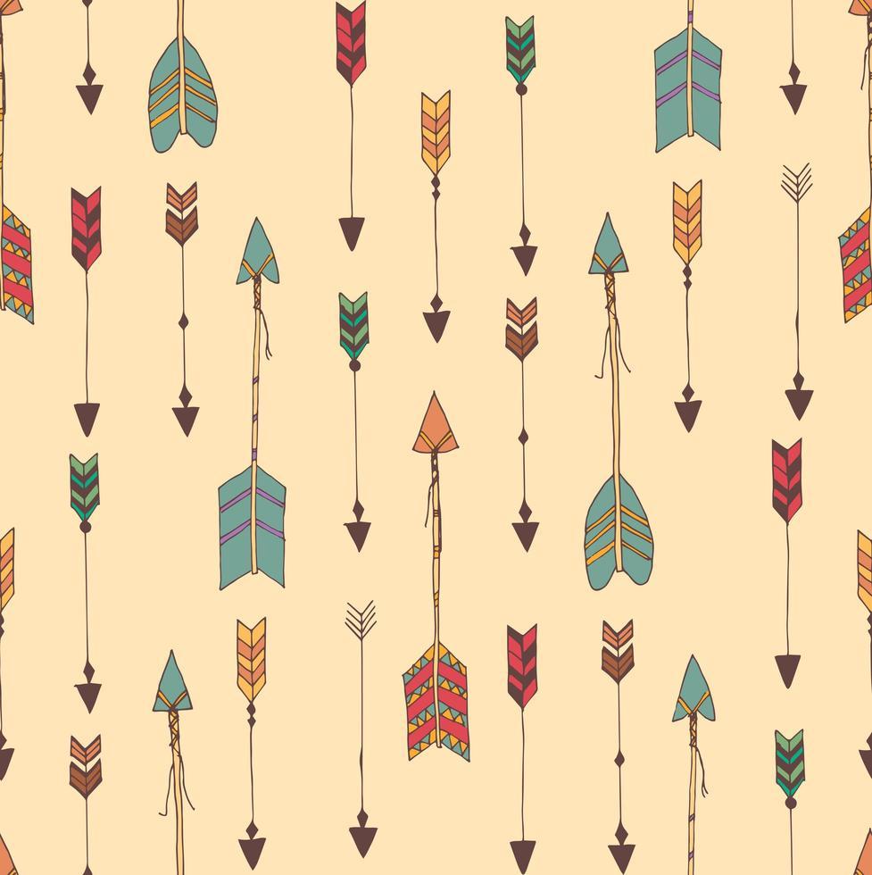 Bohemiska handritade pilar, sömlösa mönster vektor