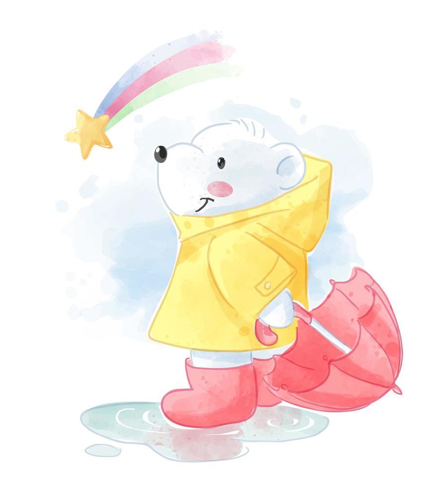 Cartoon-Eisbär im Regenmantel und Regenbogen vektor
