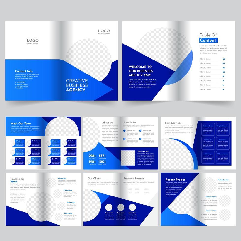 16-siders blå broschyrmall vektor