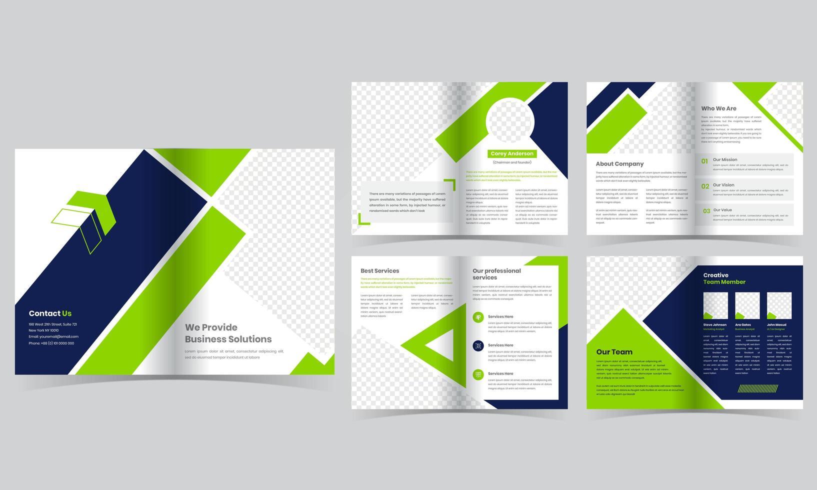 10-seitige grüne Geschäftsbroschürenschablone vektor