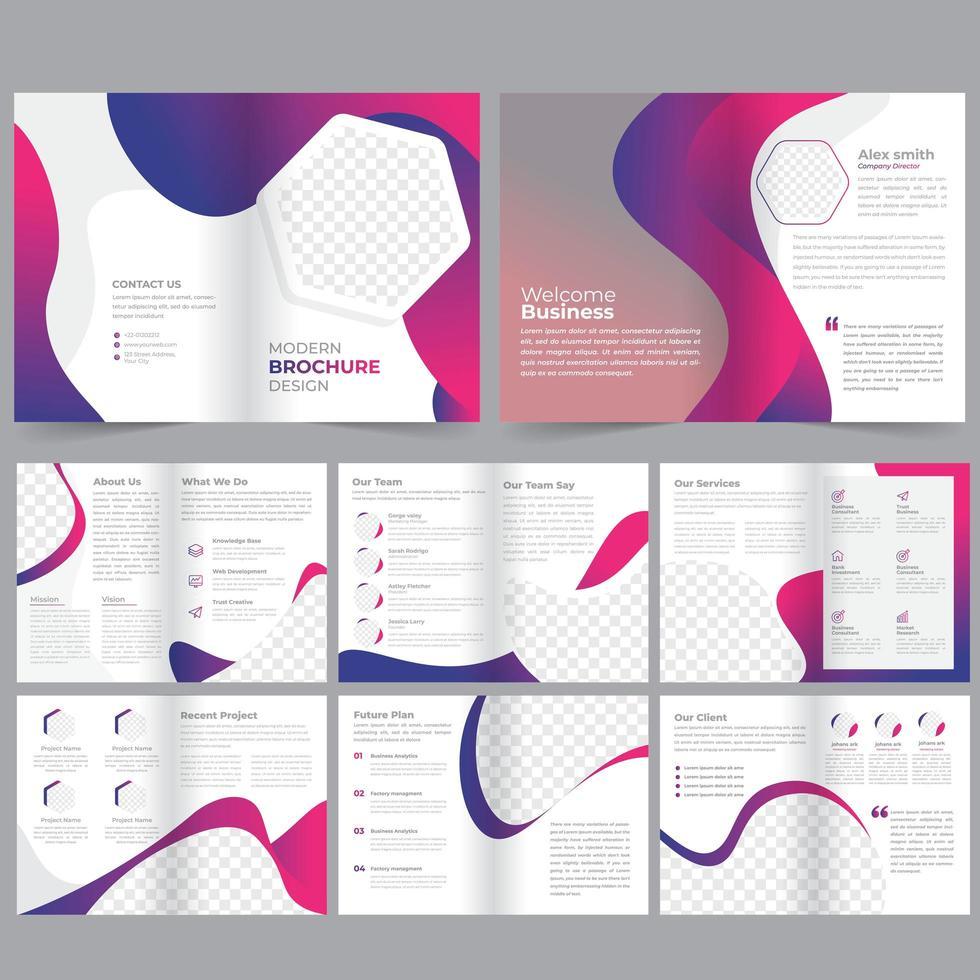16 Seite rosa und lila geometrische Business Broschüre Vorlage vektor
