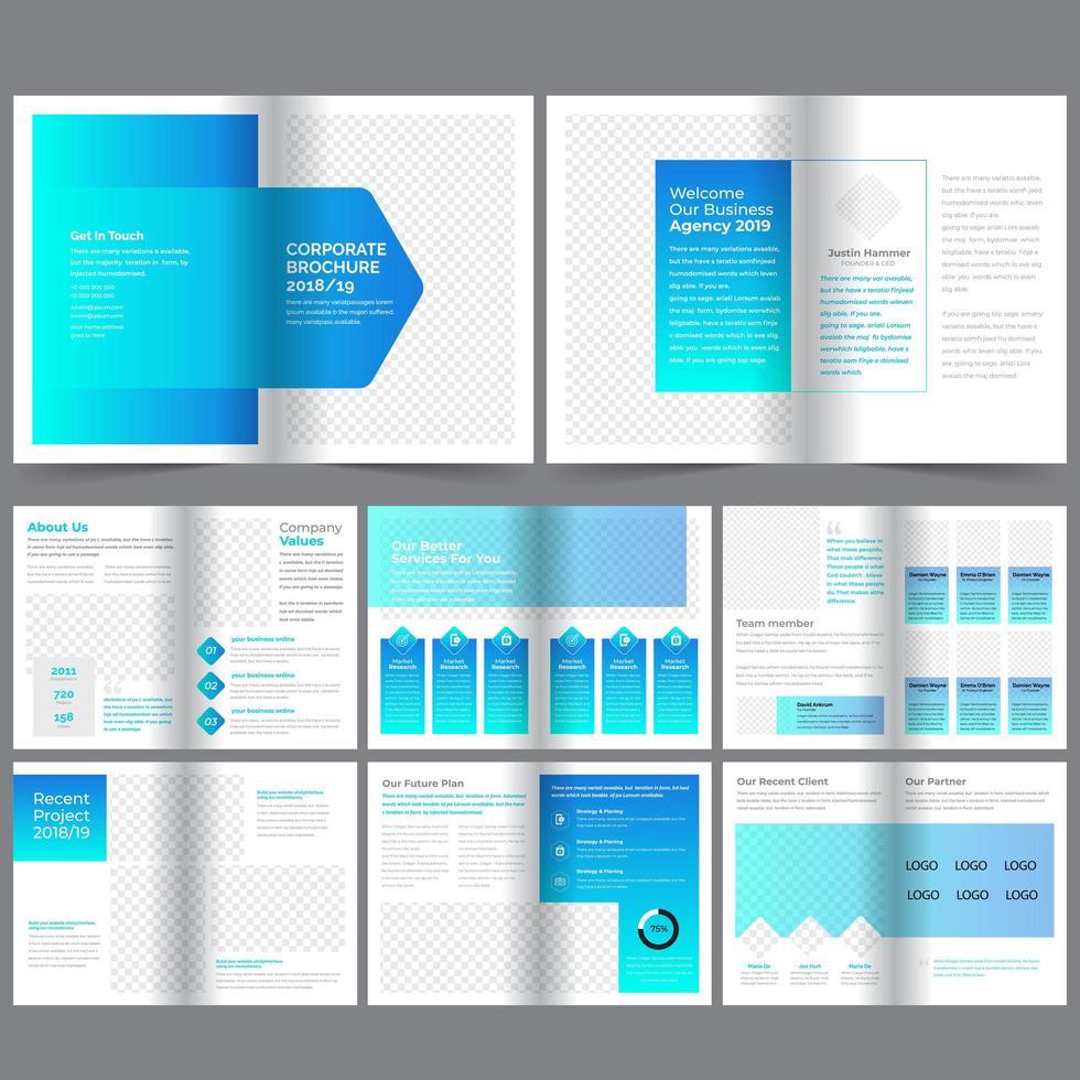 Corporate hellblauen Farbverlauf Broschüre Vorlage vektor
