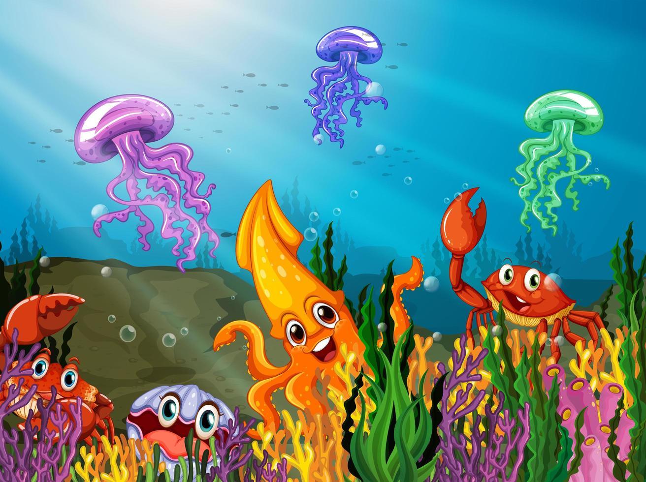 Tecknade havsdjur under vattnet vektor