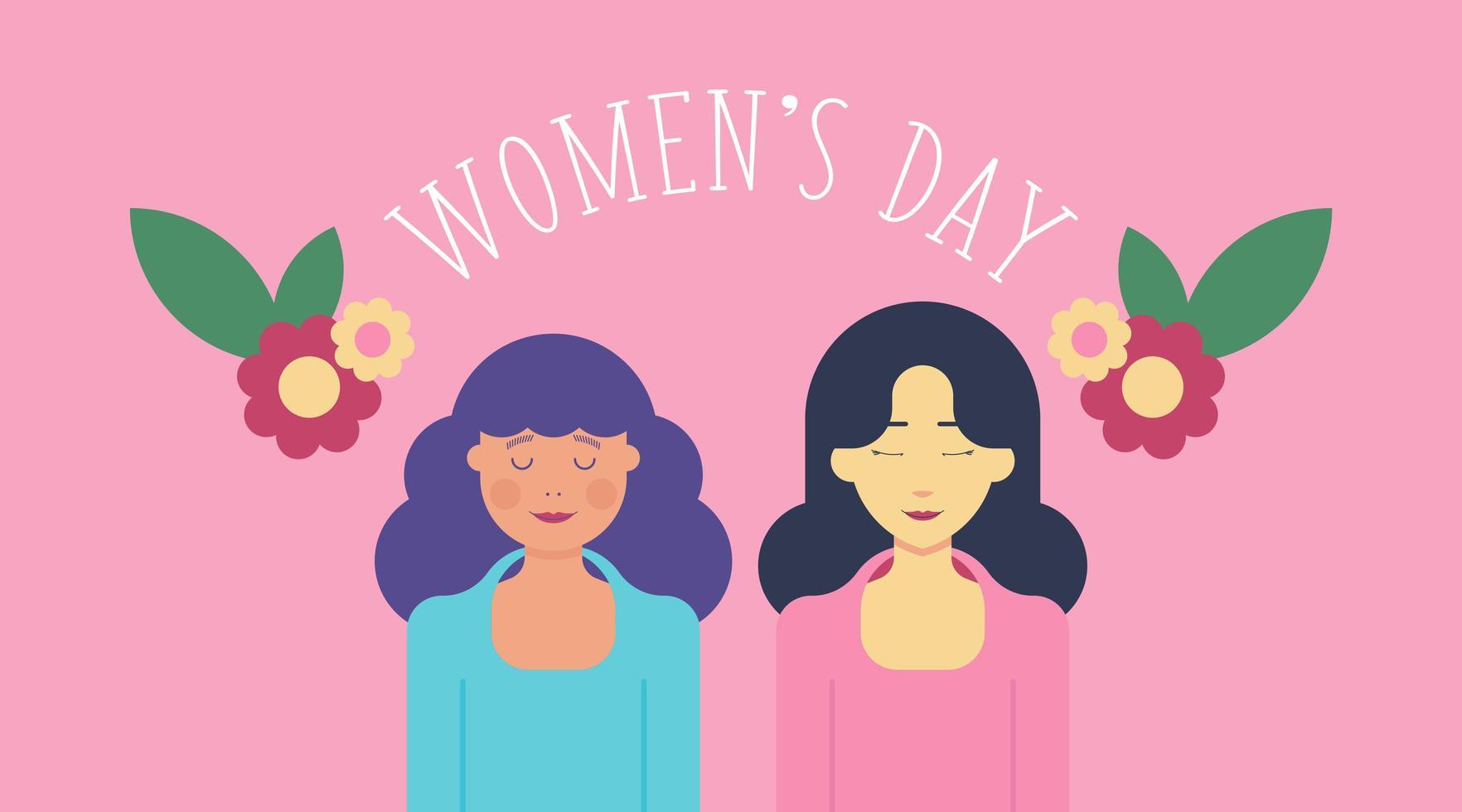 8 mars kvinnodagbakgrund med två kvinnor vektor