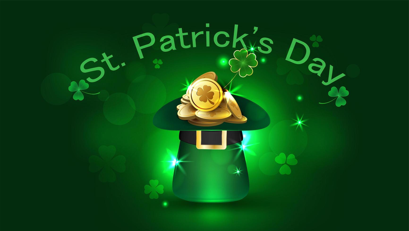 St Patrick's Day Party Flyer med hatt och mynt vektor