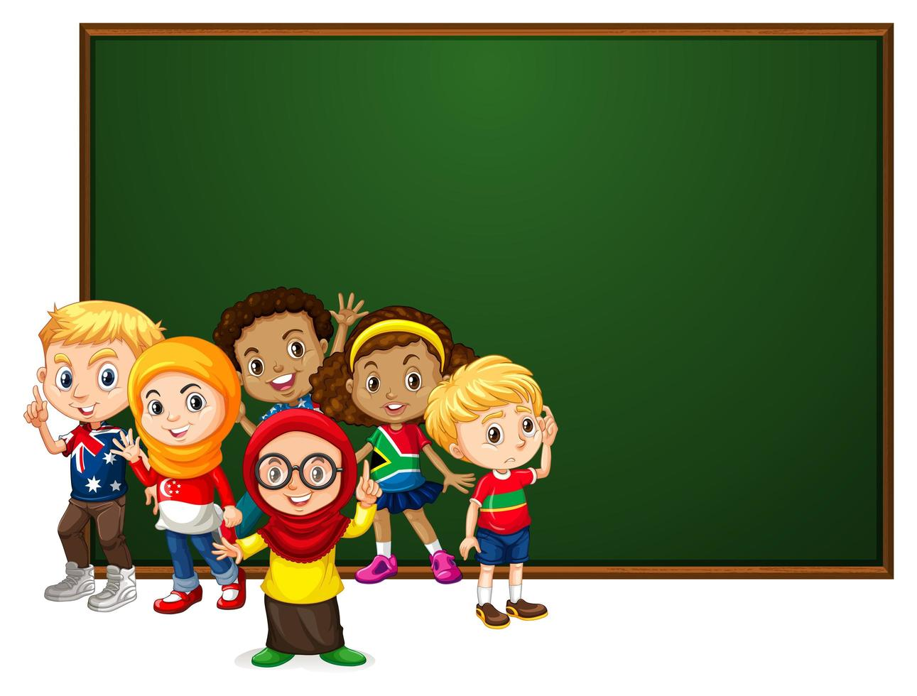 Bannermalldesign med många barn av svarta tavlan vektor