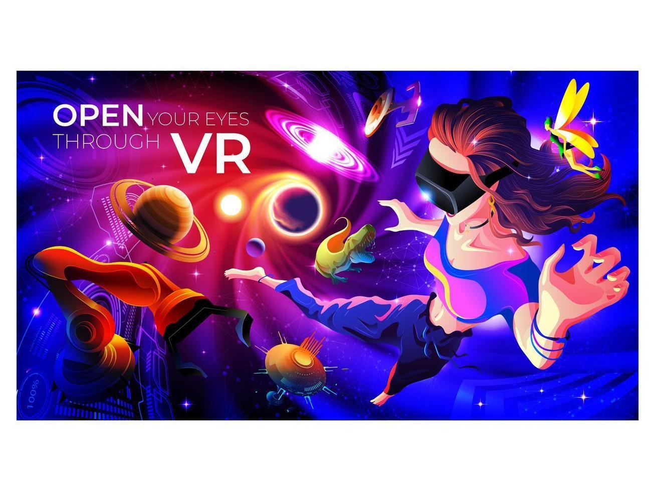 Kvinna som bär VR-glasögon och upplever spänning i den virtuella världen vektor