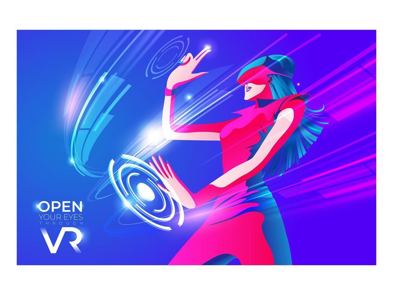 Frau in der virtuellen Realität, die Spiel spielt vektor