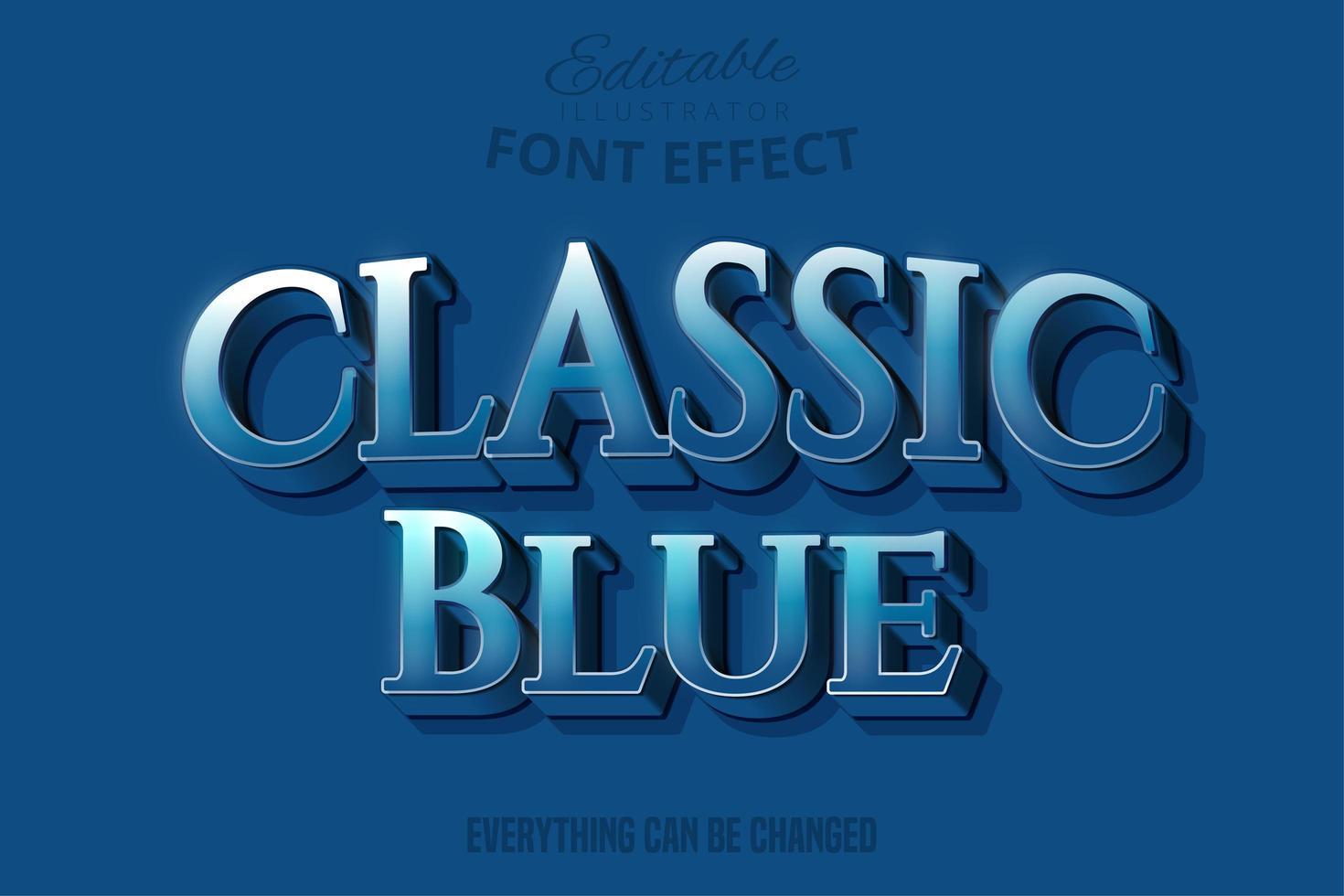 Klassisk Blue Serif-text, redigerbar textstil vektor