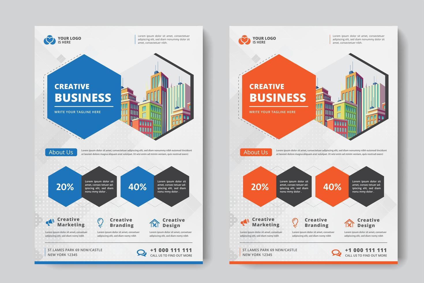 Hexagon Business Flyer A4 Größe 2 Flyer Orange und blaue Farbe vektor