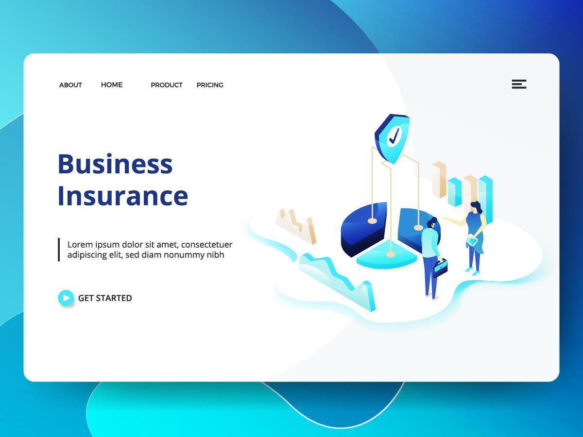 Affärsförsäkring webbplats mall vektor