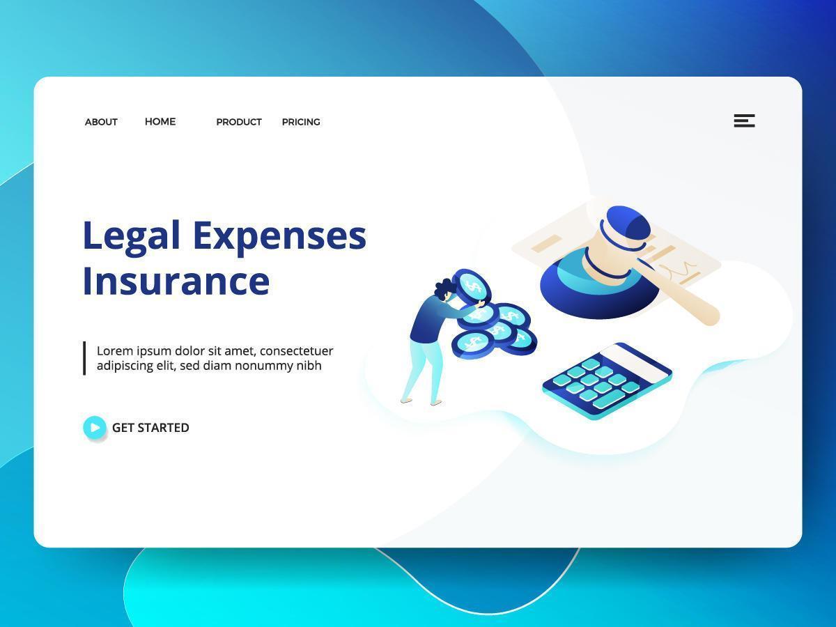 Juridiska utgifter Försäkring webbplats mall vektor
