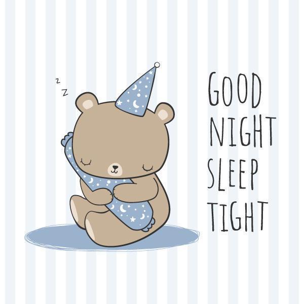 Teddy Bear Hugging Bolster-Schlafen-Karikatur-Gekritzel vektor