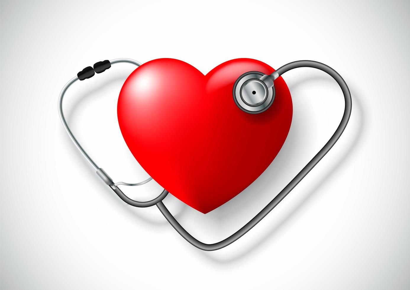 Ein Stethoskop in Form eines Herzens vektor