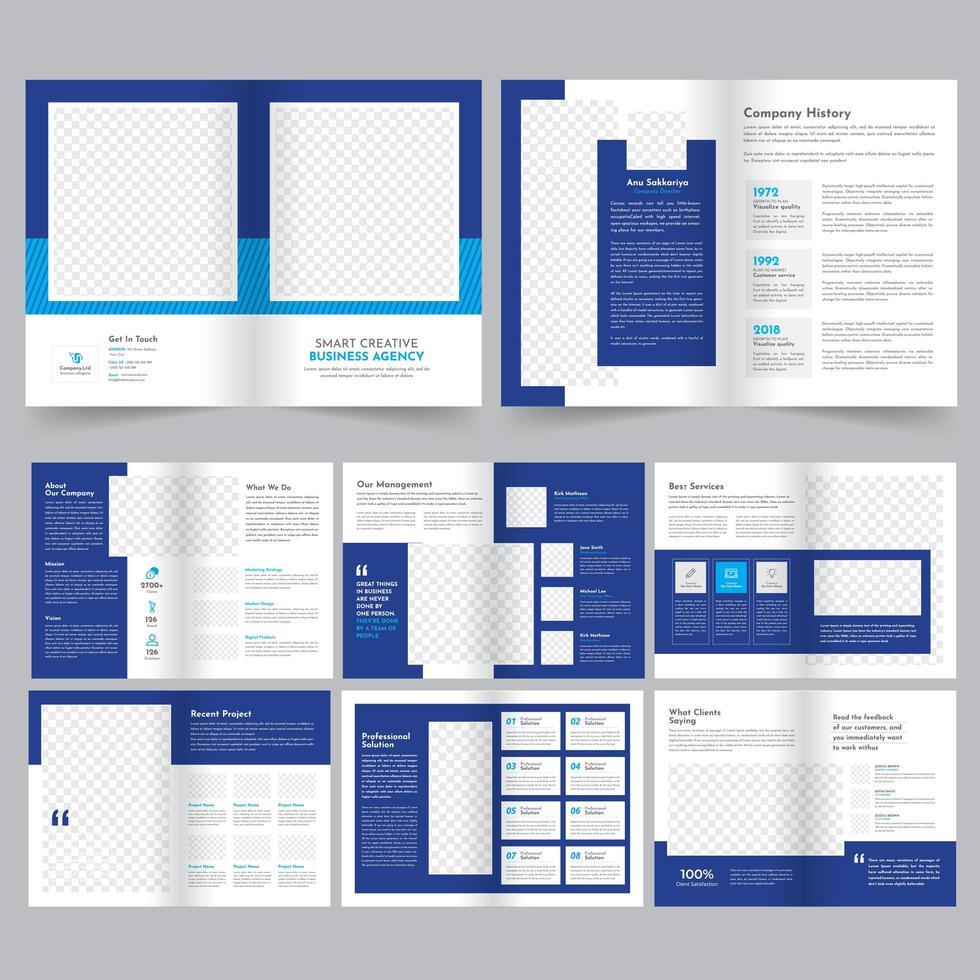 Modernes blaues Geschäfts-Broschüren-Schablonen-Set vektor