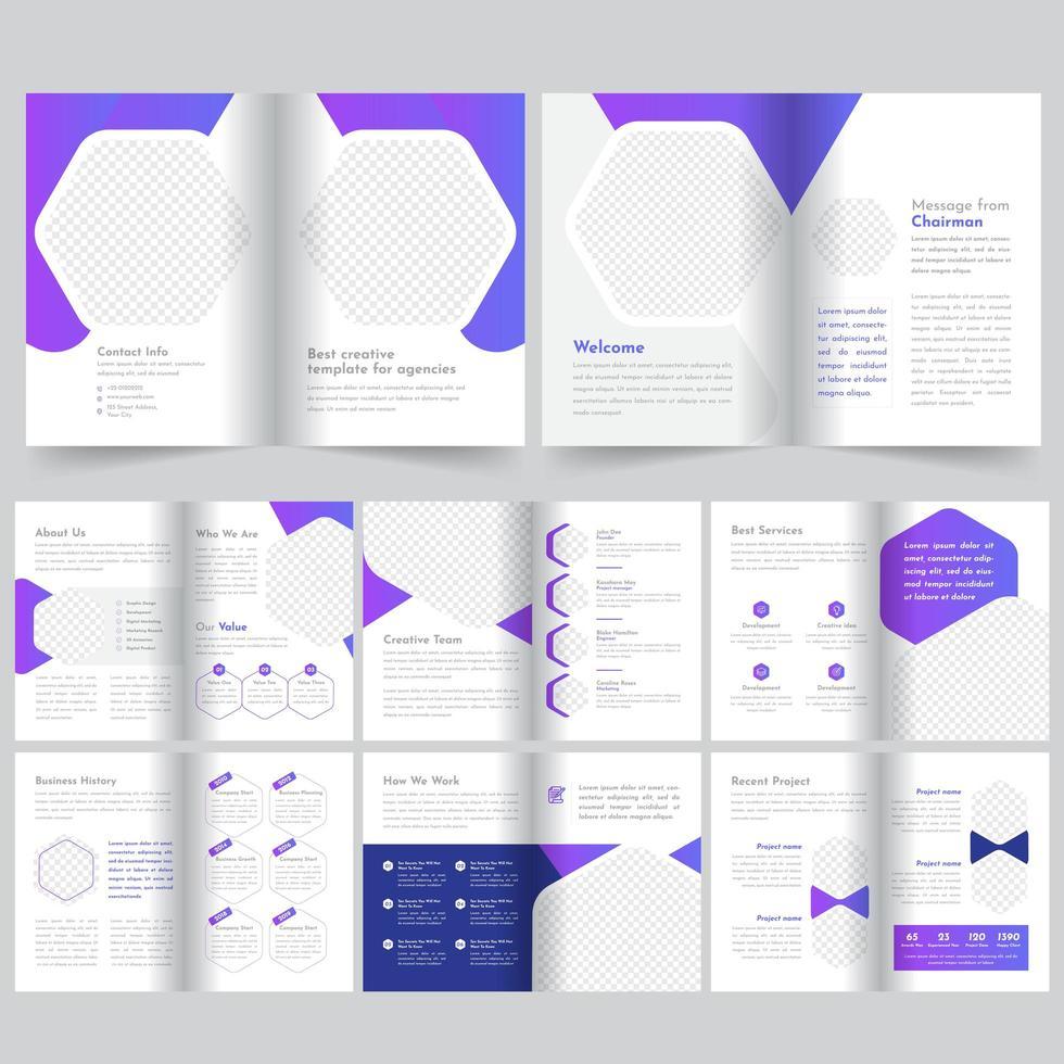 16 lila sida broschyr mall vektor