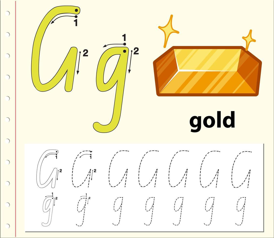 Spåra alfabetmallen för bokstaven G vektor