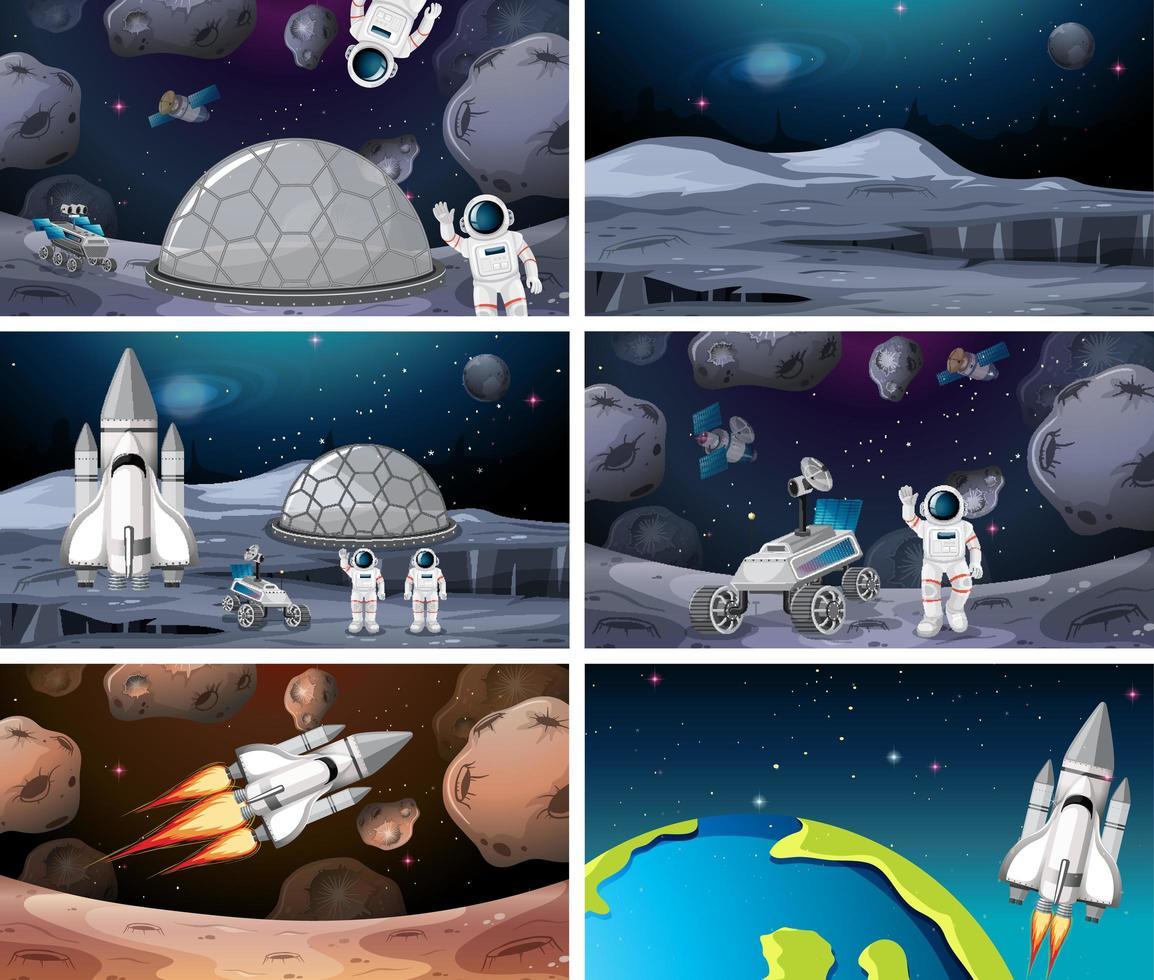 Satz der unterschiedlichen Astronauten- und Raketenszene vektor