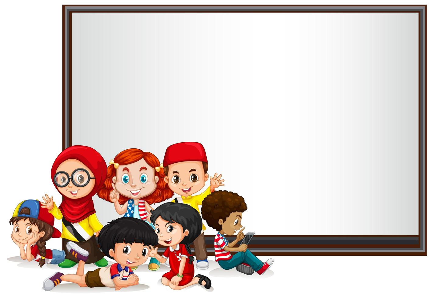 Bannersmall med barn och whiteboard vektor
