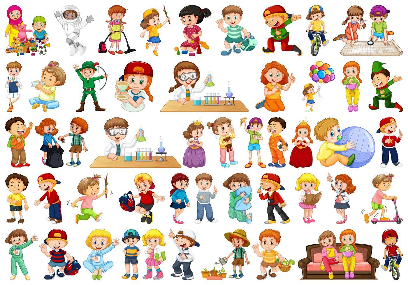 Große Anzahl aktiver Kinder vektor