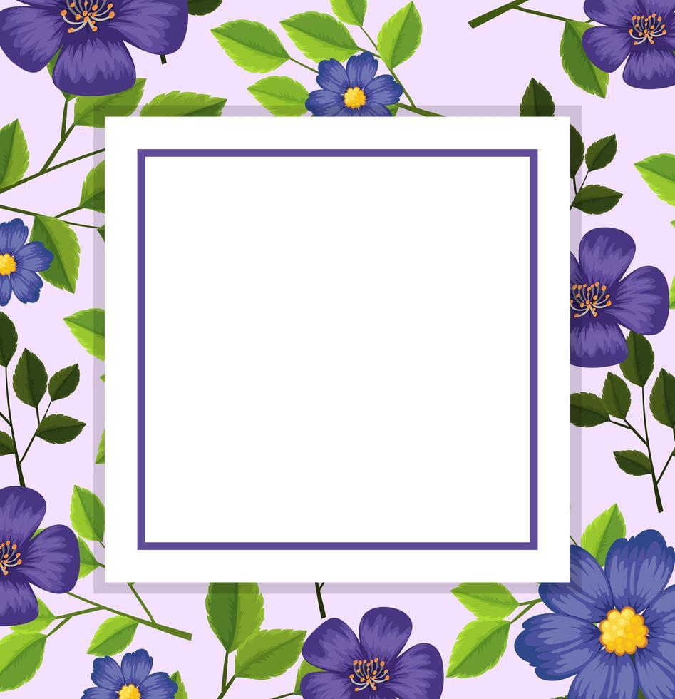 Lila blommakortmall vektor