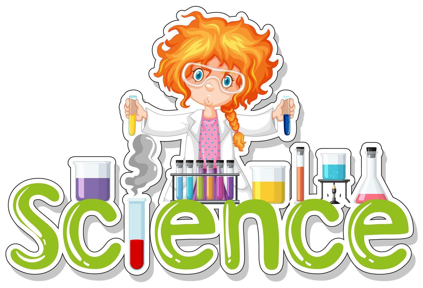 Wissenschafts-Wort-Design mit Studentin vektor