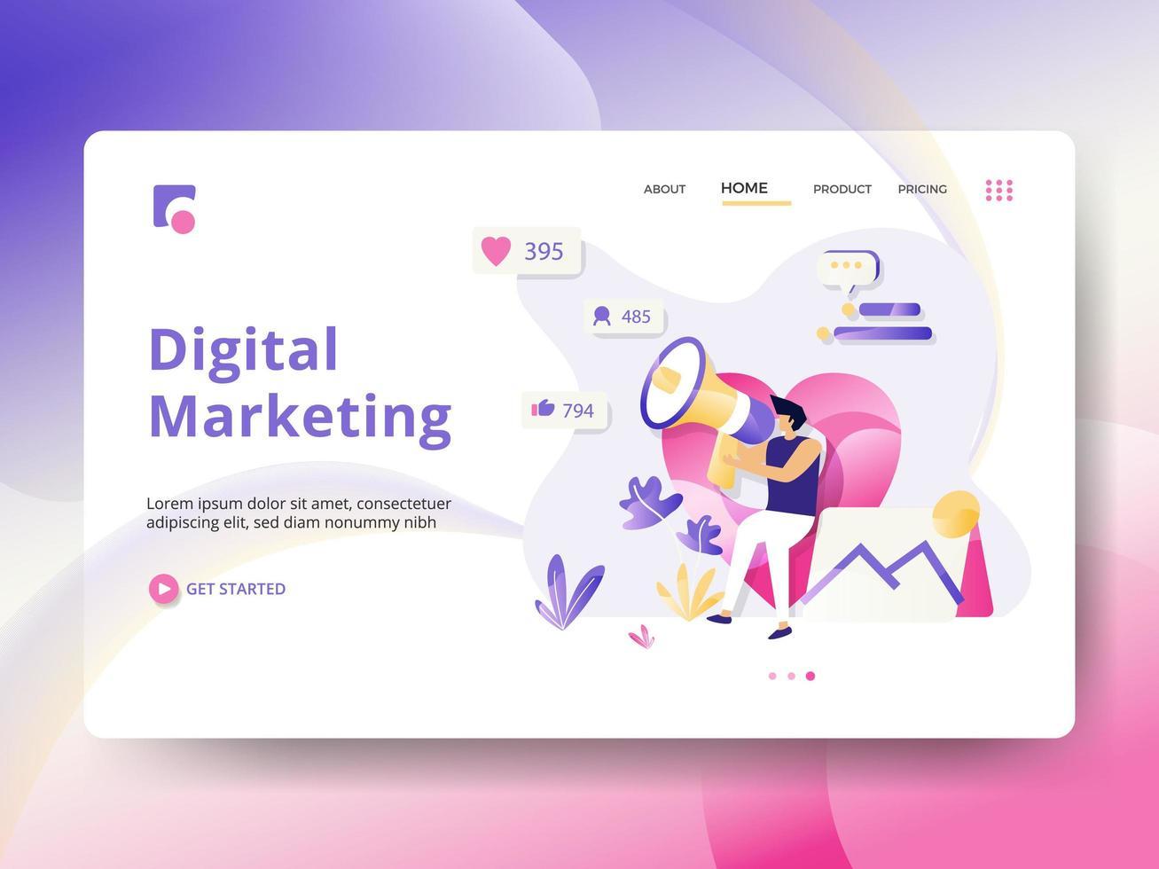 Målsida för digital marknadsföring vektor
