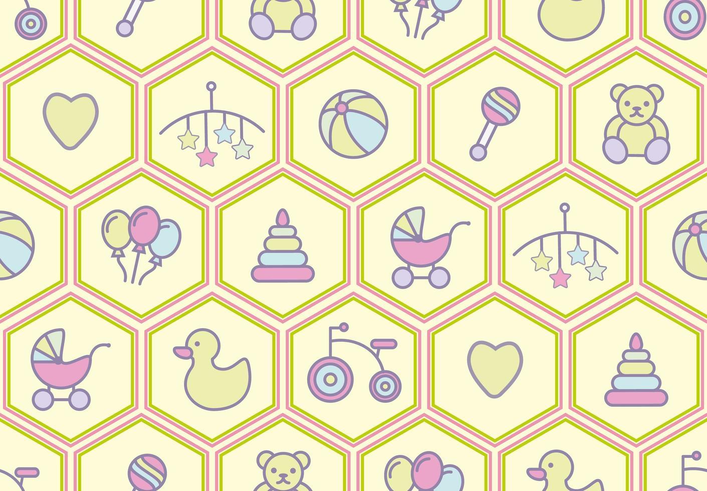 Baby spielt nahtloses Muster mit Geklapper, Bär, Dreirad und mehr vektor