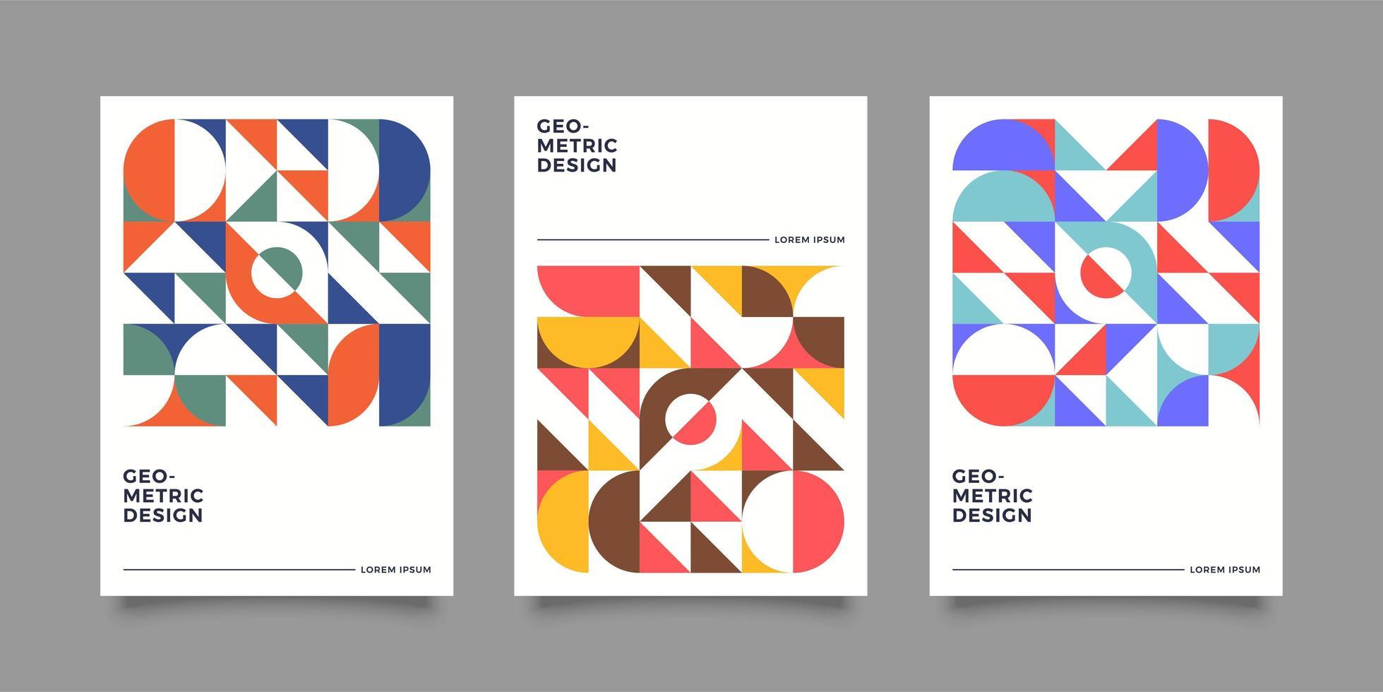 Retro bauhasus geometrisches Abdeckungsdesign vektor