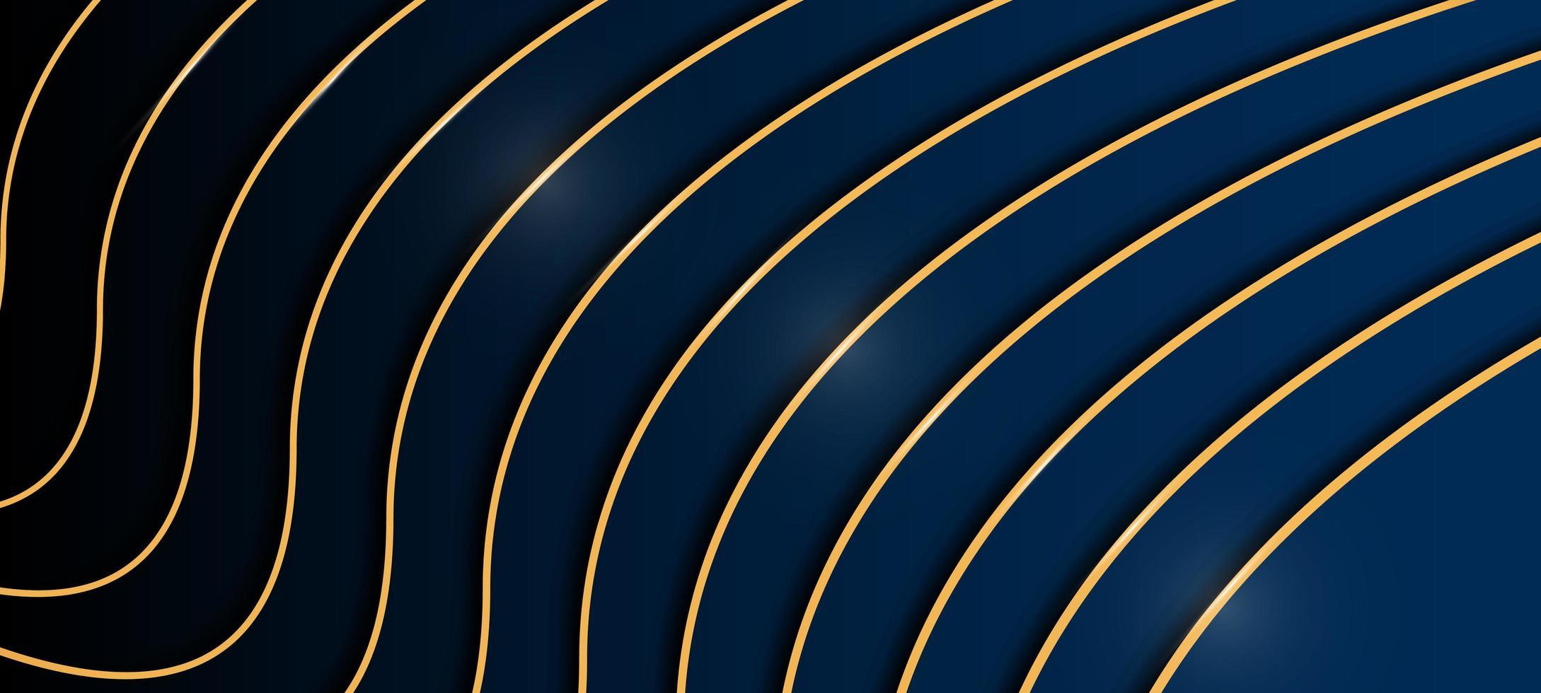 Elegant blå och svart bakgrund med guldlinjer vektor