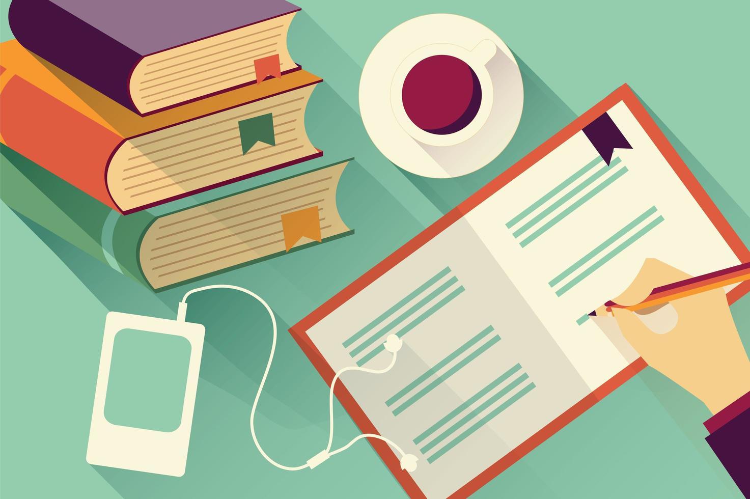 In Notizbuchhintergrund mit Büchern und Kaffee schreiben vektor