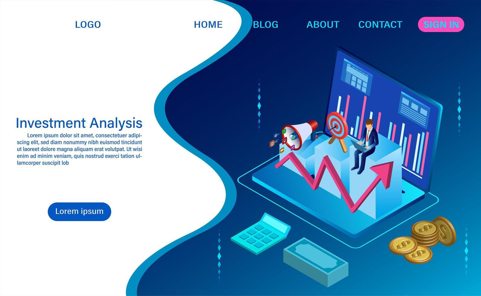Investeringsanalyskoncept med vågig stil vektor