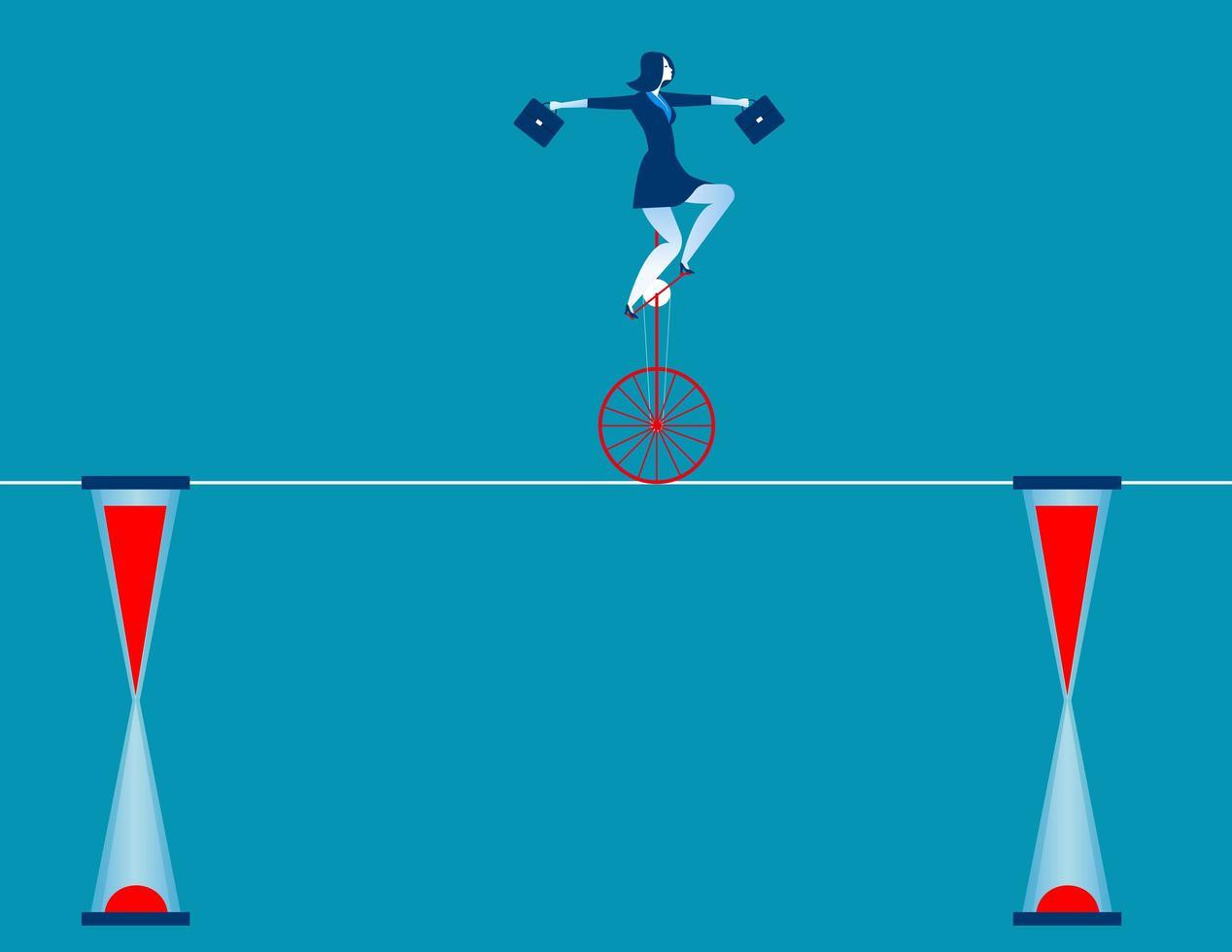Affärskvinna på enhjuling vektor