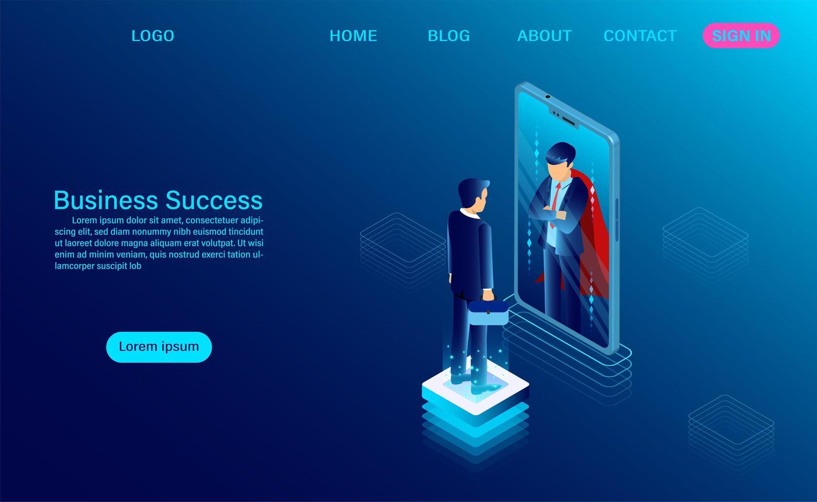 Geschäftsmann, der im Spiegel schaut und einen Superhelden sieht vektor