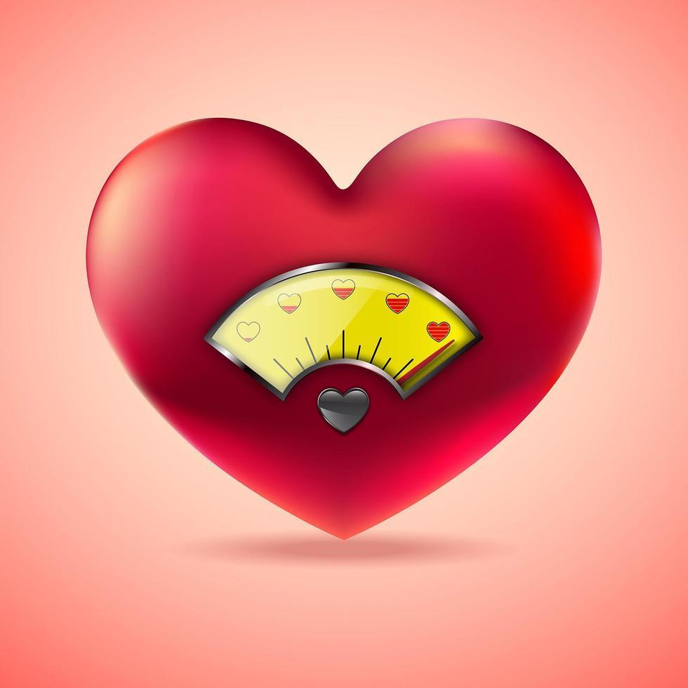 rött hjärta med gul bränslemätare vektor